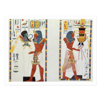 Zwei Wandgemälde von den Gräbern der Könige von Postkarten