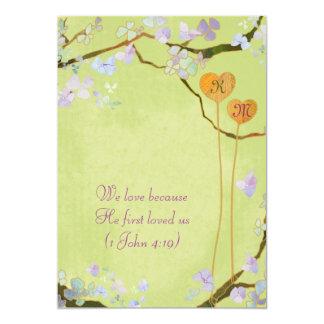 Zwei Wedding Herz-rustikale grüne Monogramme 12,7 X 17,8 Cm Einladungskarte