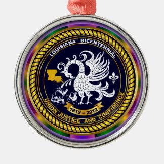 Zweihundertjähriges Louisiana-Karneval-Party sehen Rundes Silberfarbenes Ornament