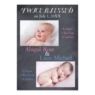 Zweimal gesegnete Zwillinge - Geburts-Mitteilung Karte