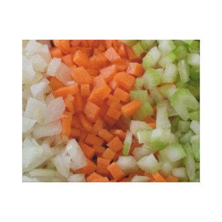 Zwiebel, Karotten und Sellerie der Leinwandnahrung Gespannte Galerie Drucke