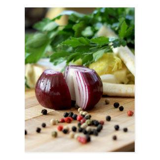 Zwiebel-Küche Postkarte
