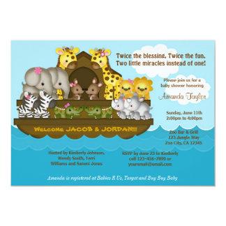 ZWILLINGE Noahs Arche-Babyparty-Einladung Karte