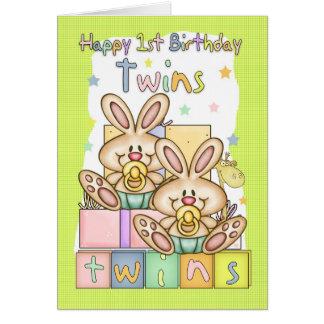 Zwillings-erste Geburtstags-Karte - zwei kleine Grußkarte