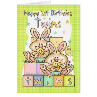 Zwillings-erste Geburtstags-Karte - zwei kleine Karte