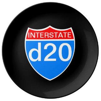 Zwischenstaatliches d20 teller aus porzellan