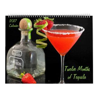 Zwölf Monate des Kalenders des Tequila-2017 Kalender
