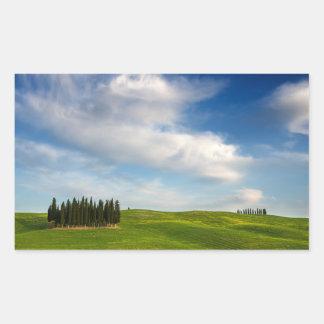 Zypresse-Bäume in rechteckigem Aufkleber Toskana