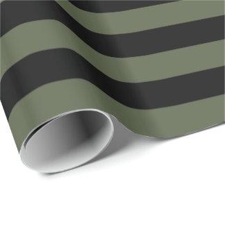 Zypresse-Kiefern-grüner/schwarzer Streifen Geschenkpapier