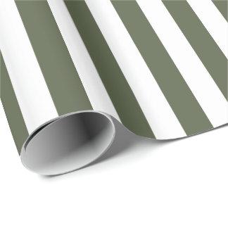 Zypresse-Kiefern-grüner/weißer Streifen Geschenkpapier