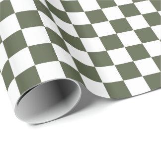 Zypresse-Kiefern-grünes/weißes kariertes Geschenkpapier