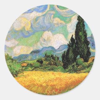 Zypressen des Van- Goghweizen-Feld-w bei Haute Runder Aufkleber